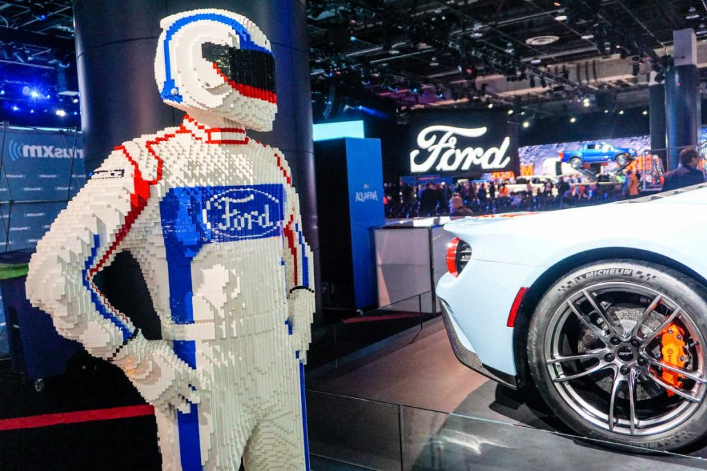The Ford Motor Company exhibit at the 2019 North American International Auto Show in Detroit