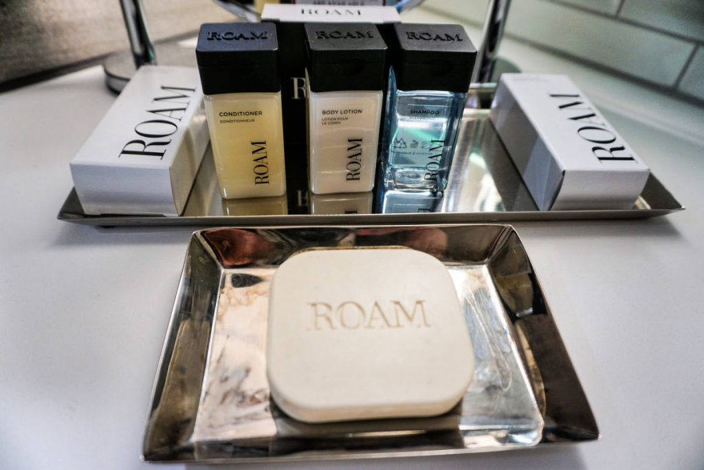 Roam toiletries are one of the amenities offered to guests at Weber's Boutique Hotel in Ann Arbor, Michigan, USA #sponsored #AnnArbor #ErinInAnnArbor