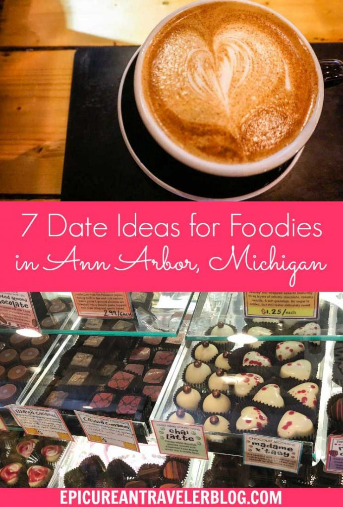 Celebrating Valentine's Day or an anniversary in Ann Arbor, Michigan? Whether you are taking a romantic getaway or just looking for a date night idea, this article shares seven romantic experiences ideal for foodie couples. | Ann Arbor, Michigan, USA | #sponsored #AnnArbor #DestinationAnnArbor #ErinInAnnArbor #ErinInA2 #Michigan #CouplesTravel #DateNight #RomanticGetaway #ValentinesDay #romanticrestaurants #foodtravel