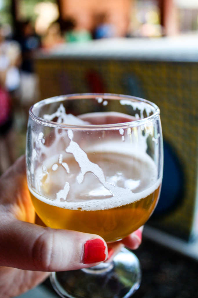New Belgium Saison in a tasting glass during a New Belgium brewery tour