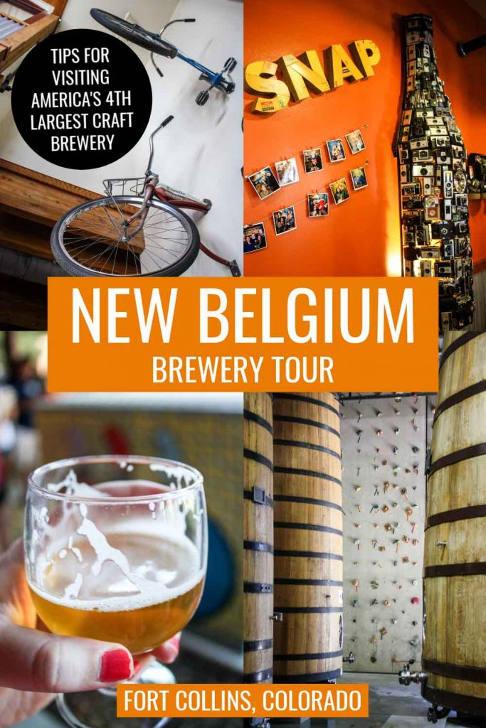 Snapshots of New Belgium Brewing Company in Fort Collins, Colorado, including bike handles hanging from wall, beer bottled artwork formed from old cameras, rock climbing wall inside brewery, and tasting glass of Saison beer