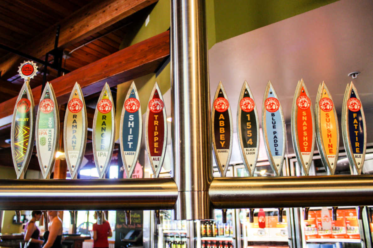 Beer taps at New Belgium Brewing Company in Fort Collins, Colorado