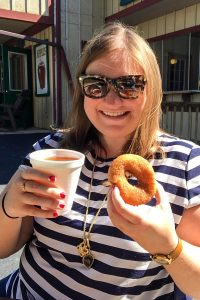 Apple cider and doughnut at Robinette's in Grand Rapids, Michigan