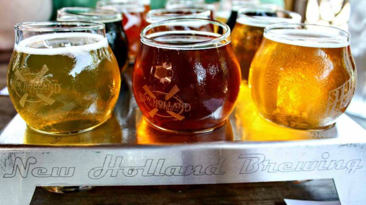 Taste a flight of New Holland Brewing Company beers in Holland, Michigan