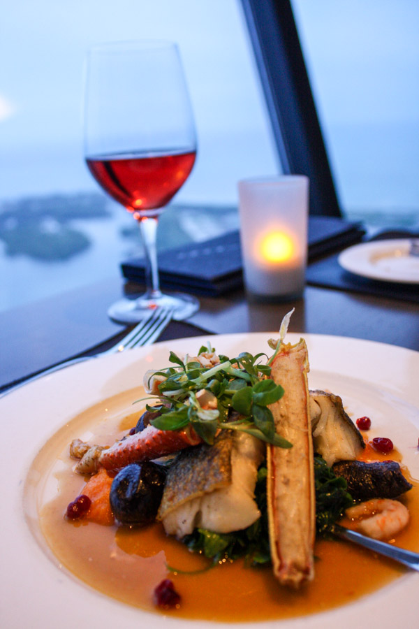 Fogo Island Seafood and Canadian Rosé at 360 The Restaurant at the CN Tower in Toronto, Ontario, Canada