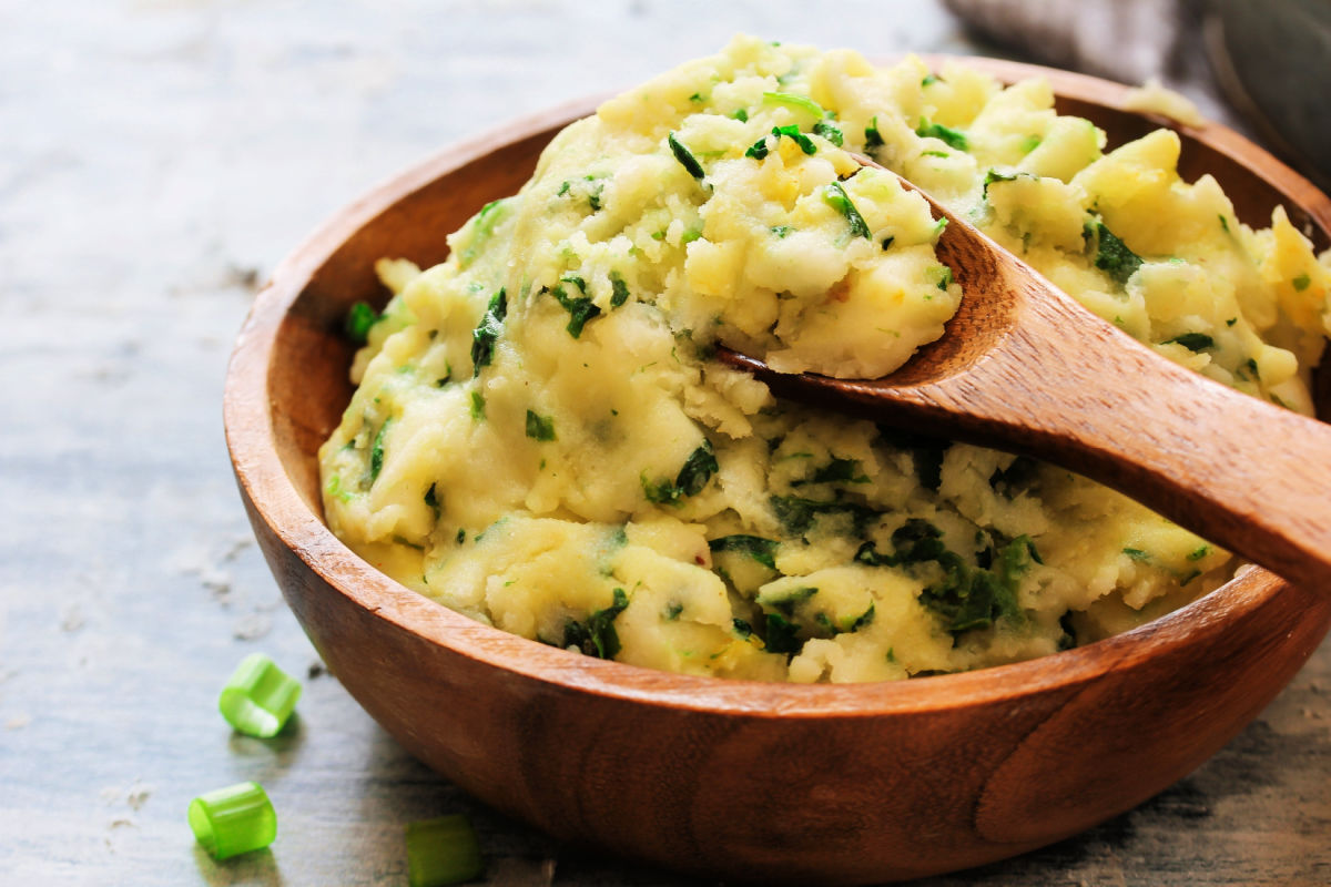 Irish colcannon in wooden serving bowl