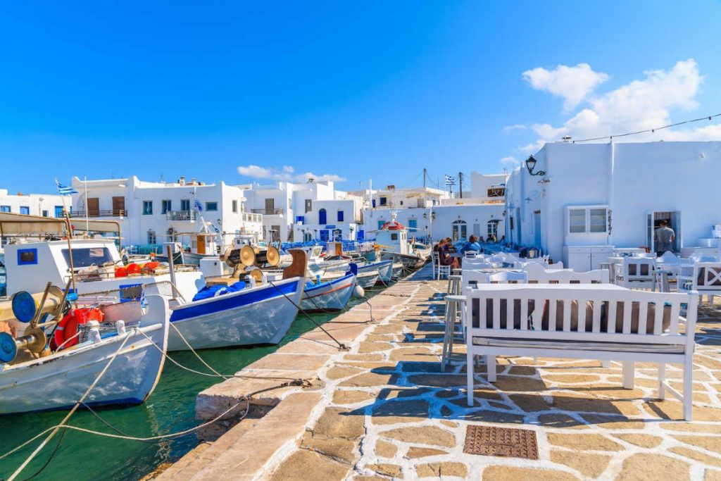 Fishing boats anchoring in Naoussa port, Paros island, Greece