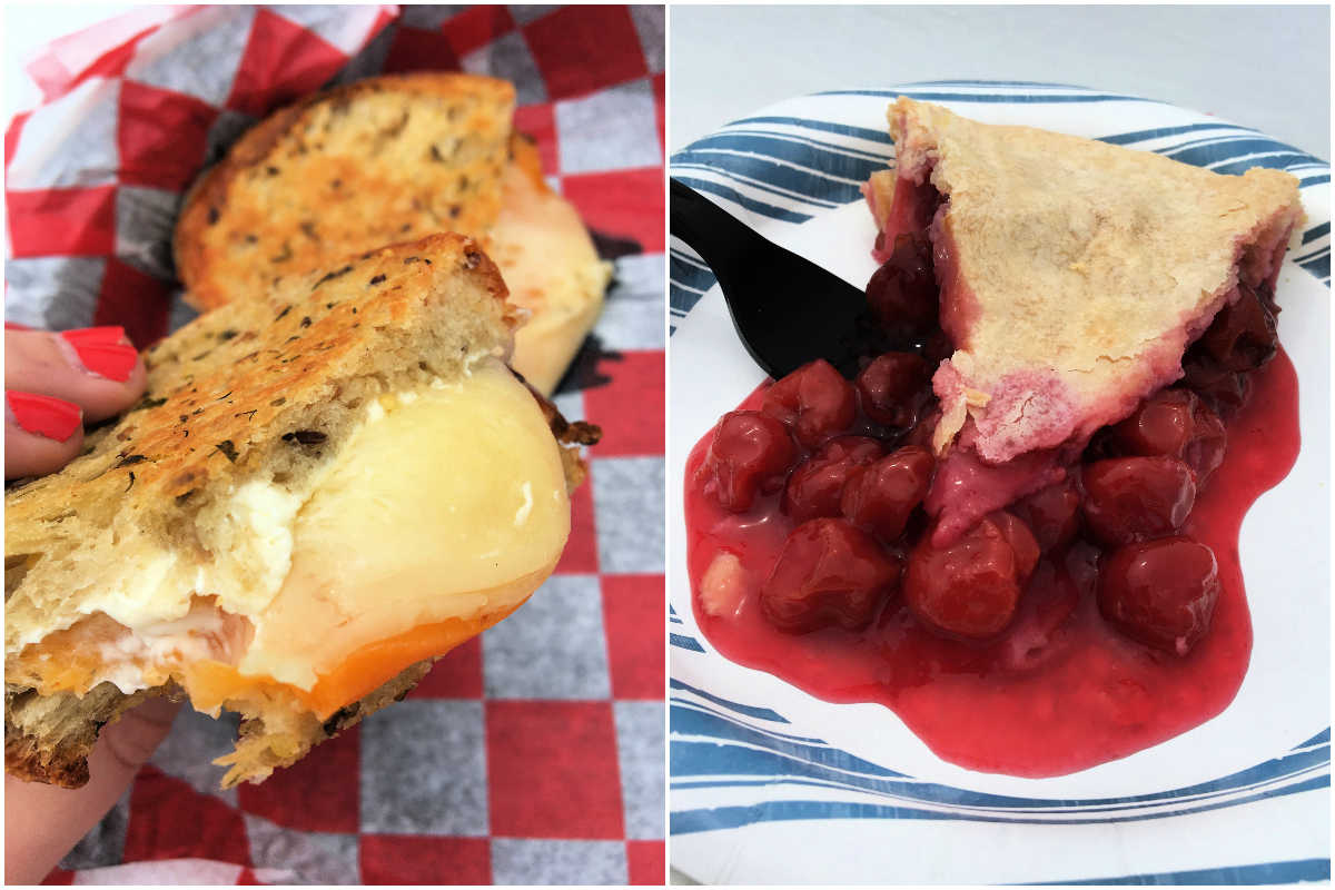 Grilled cheese sandwich and cherry pie slice at Cherry Point Farm & Market