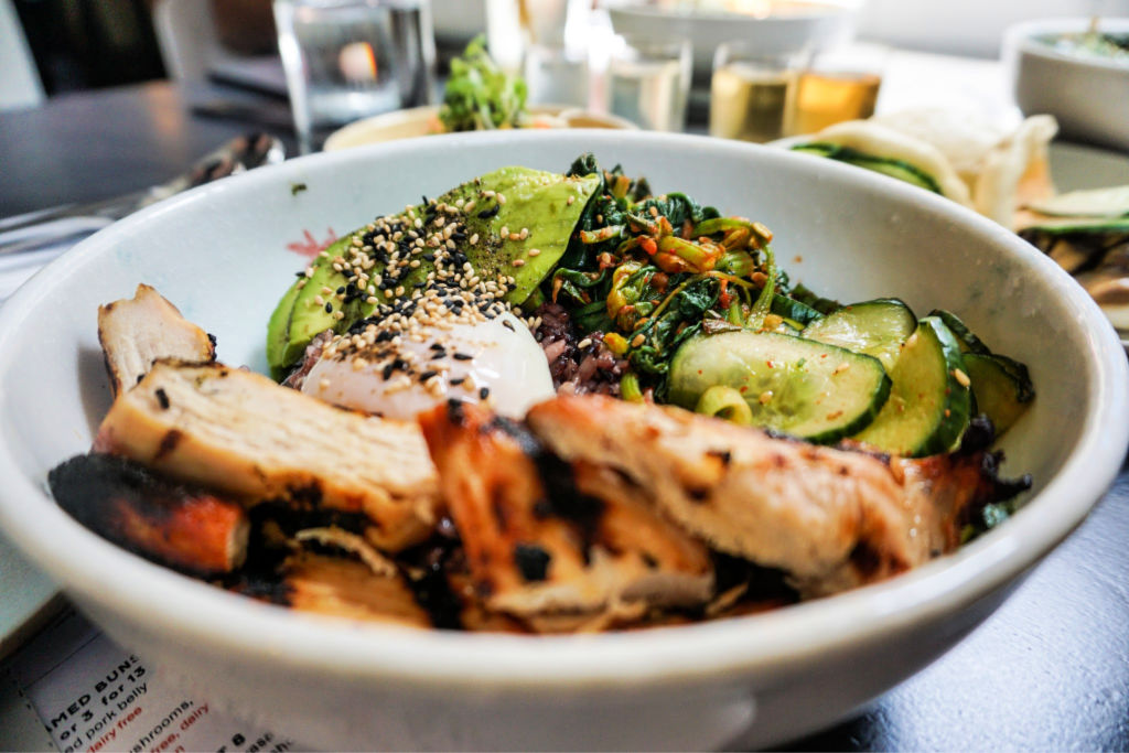 Chicken avocado rice bowl at Miss Kim in Ann Arbor, Michigan