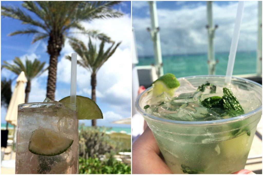 Caipirinha at Grand Beach Hotel Surfside Restaurant and mojito from the Sky Bar