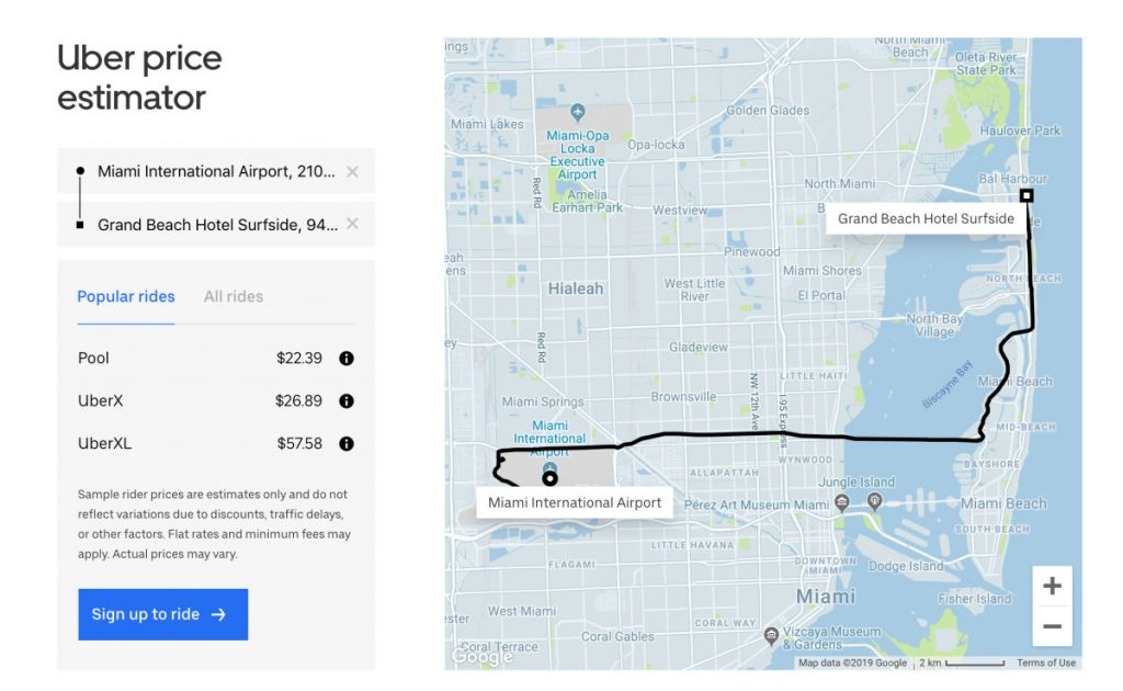 Screenshot of Uber pricing for a ride from Miami International Airport (MIA) to Grand Beach Hotel Surfside