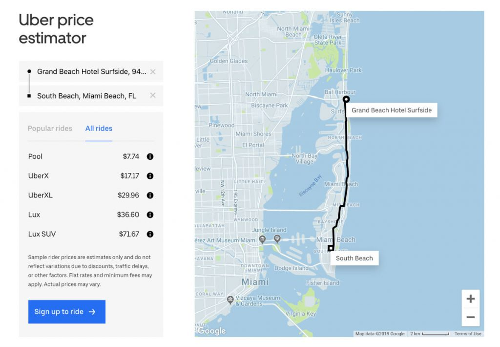 Uber price estimate for a ride from Grand Beach Hotel Surfside to South Beach in Miami Beach, Florida