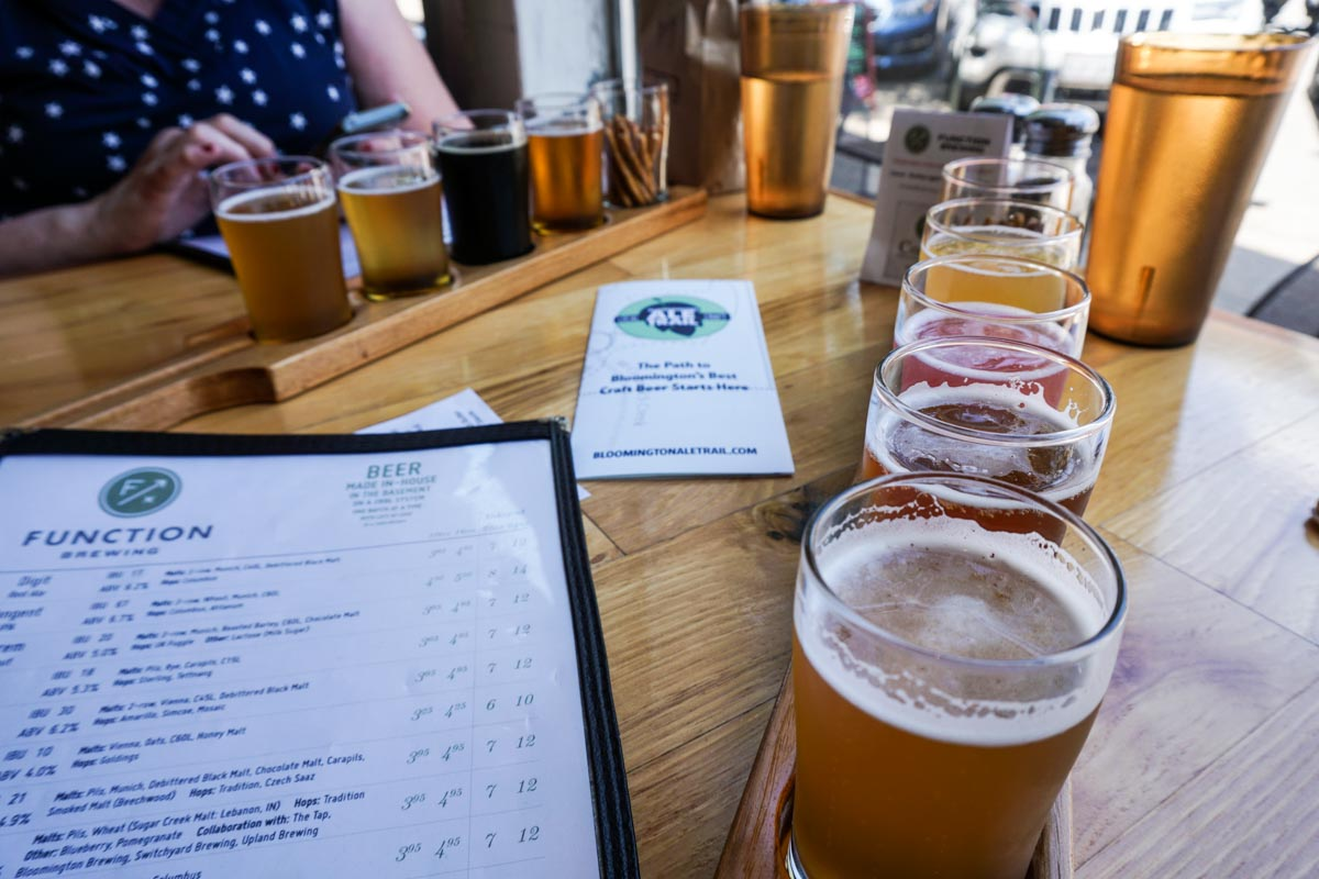 Craft beer flights at Function Brewing in Bloomington, Indiana