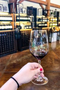 Wine tasting at Oliver Winery