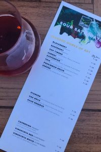 Sour Saturday Menu at Upland Brewing Co