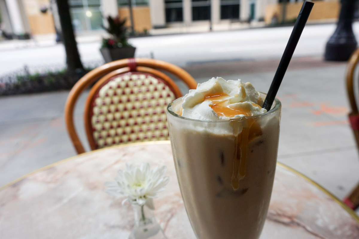 Iced Caramel Cappuccino at Cafe Intermezzo in Atlanta, Georgia