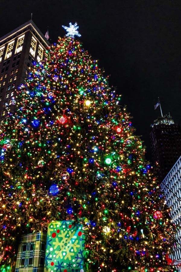 Christmas Tree lit up at night in downtown Detroit