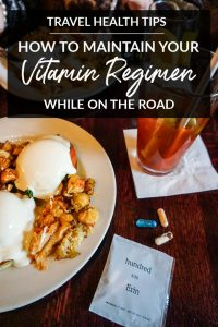 Do you struggle to maintain your vitamin regimen while traveling? I recently tried hundred, a digital personalized vitamin service, and shared my experience. Plus, this post contains more tips for taking vitamins and nutritional supplements on the go! #sponsored #vitamins #supplements #healthtips #traveltips #travelhealthtips