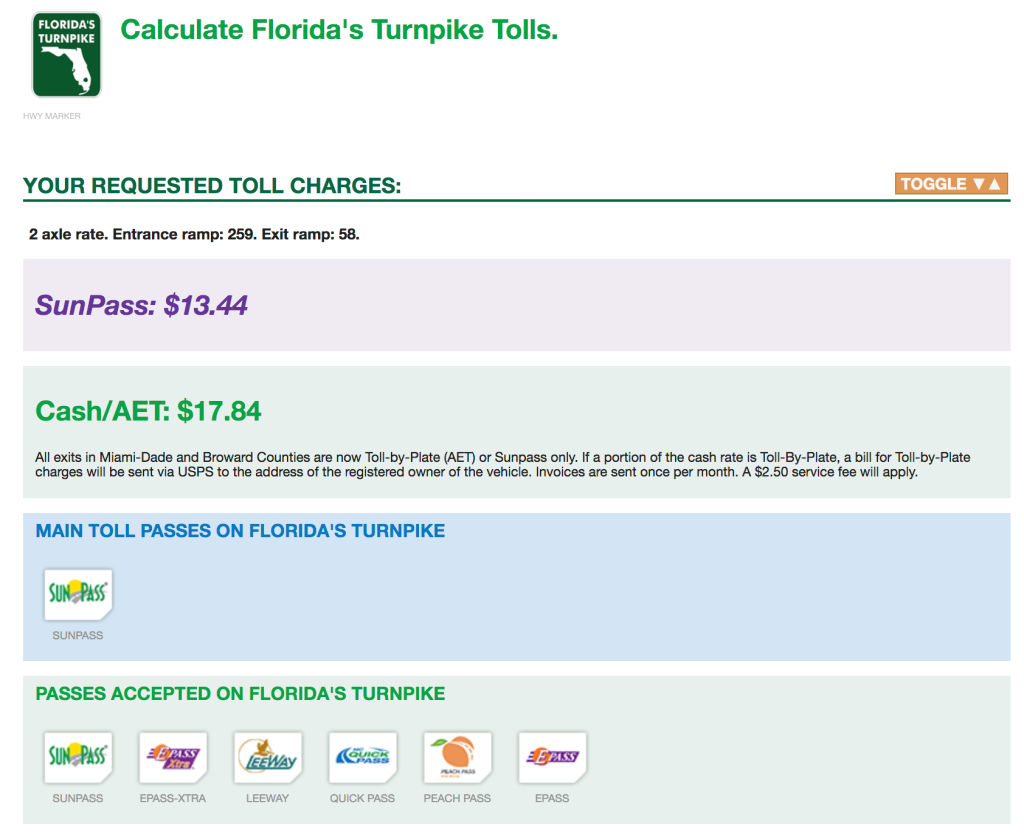 Florida Turnpike toll charge estimate for Orlando to Fort Lauderdale, Florida