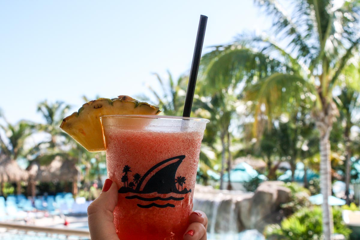 Frozen Strawberry Daiquiri at Landshark Bar & Grill at Hollywood Margaritaville Resort in Hollywood, Florida