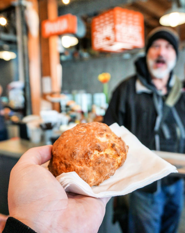 A cheesy Southern-style biscuit from Honest Biscuit at Pike Place Market in Seattle