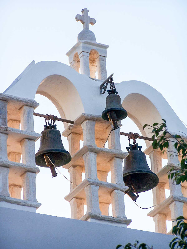 Church steeple and bells on Paros