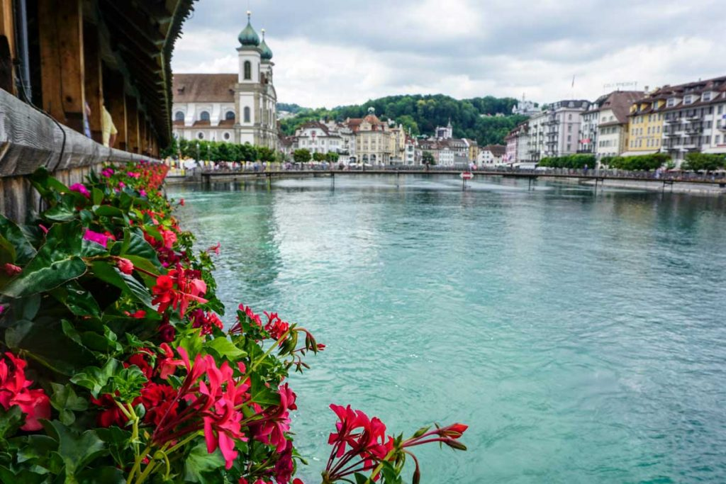View over river with Swiss city of Lucerne in background and flowers in foreground