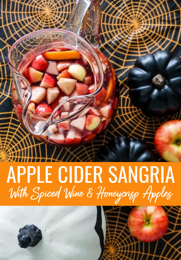 Apple Cider Sangria with Spiced Wine & Honeycrisp Apples in Halloween setting