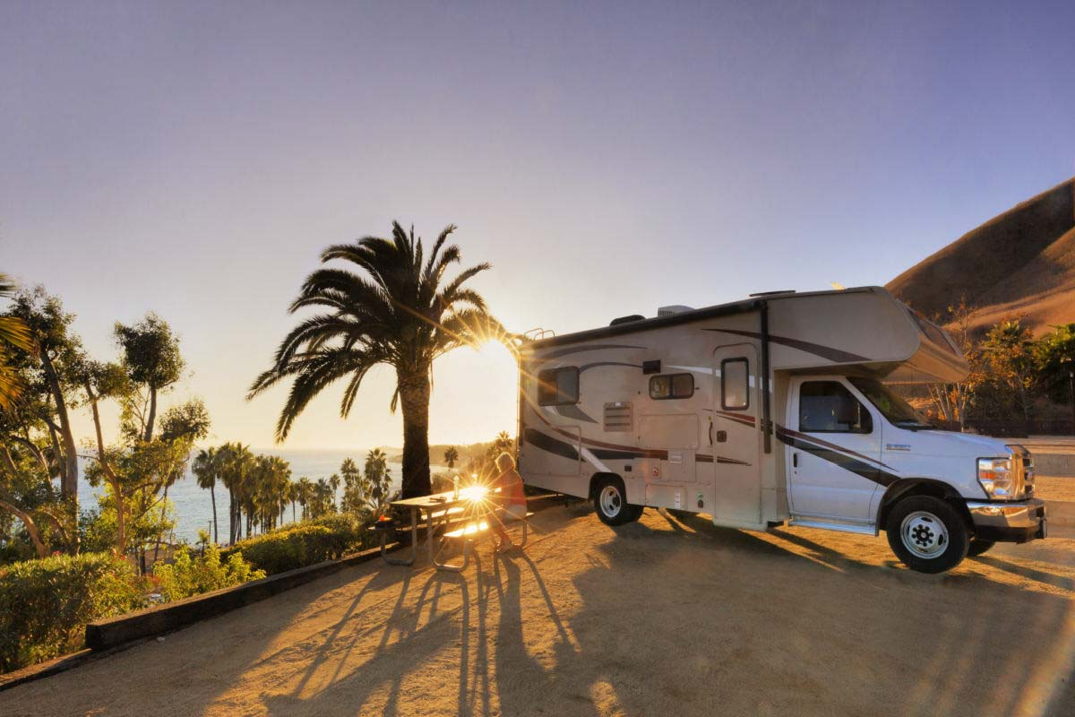 RV parked in Malibu, Califorina