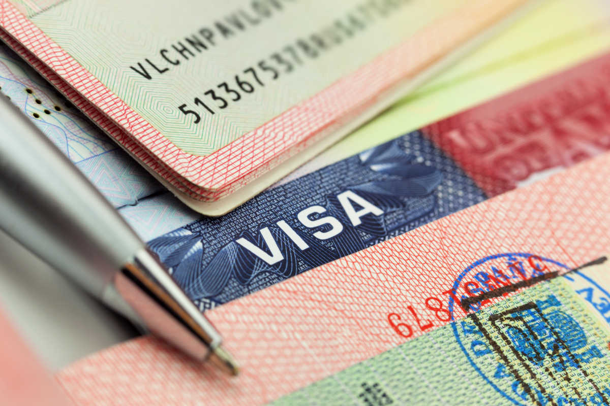 Visas and stamps in a passport